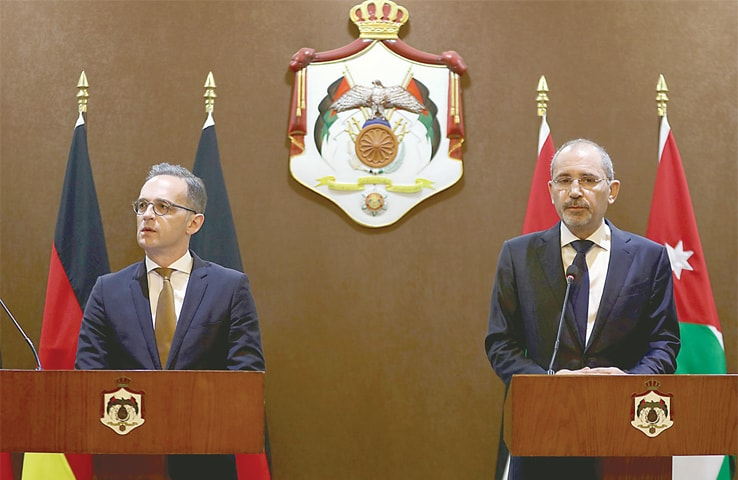 AMMAN: German Foreign Minister Heiko Maas (left) speaks at a press conference with his Jordanian counterpart Ayman Safadi on Sunday. — AFP