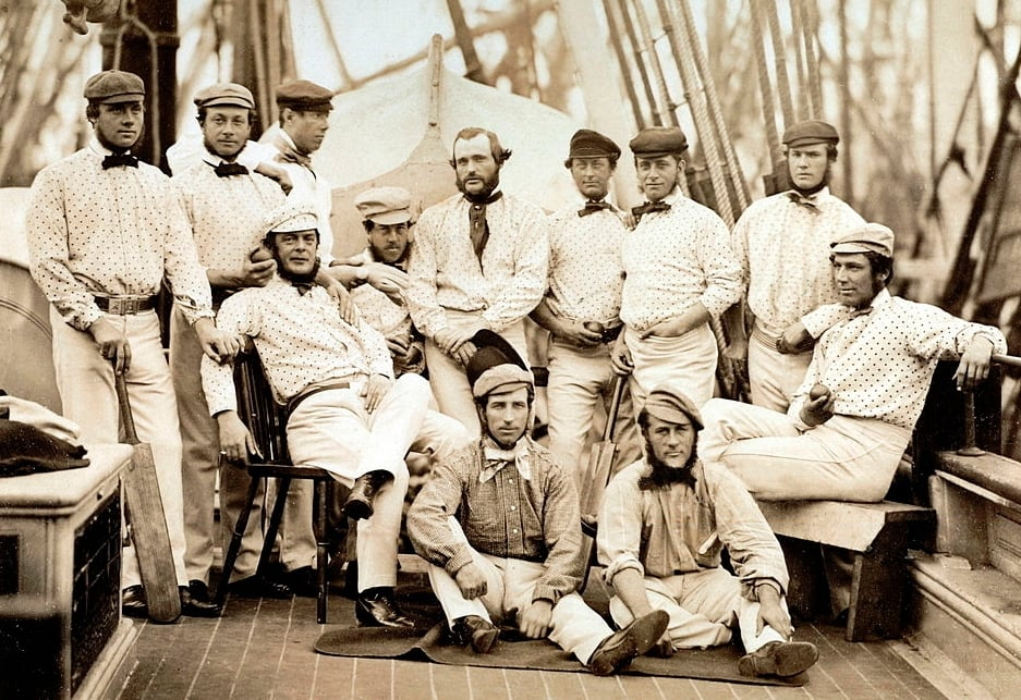 The first English cricket team to tour overseas, on board a ship to North America in 1859.—Fred Lillywhite/Wikimedia Commons