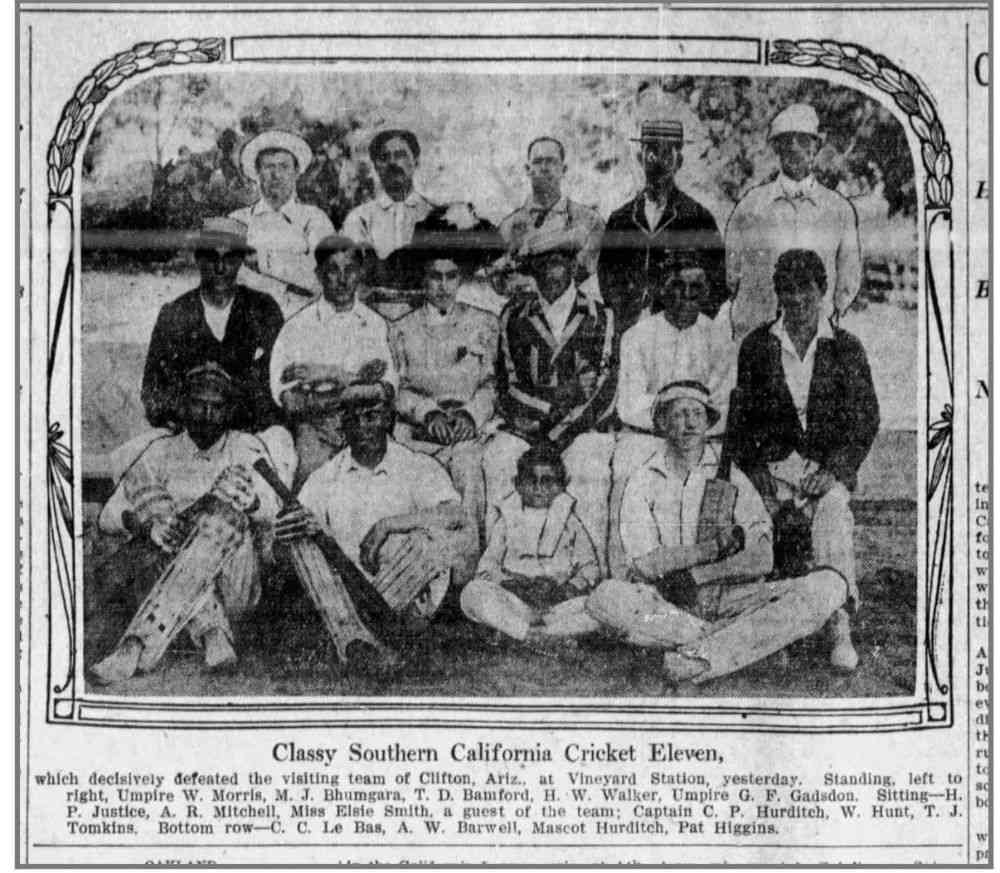 An article that appeared in The Los Angeles Times on August 24, 1908, featuring the Southern California Cricket Eleven that defeated the visiting team of Clifton, Arizona. Standing (top row, second from left) is Bhumgara.