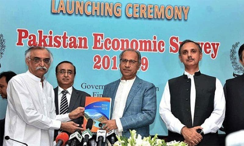 The government launches the Pakistan Economic Survey 2018-19 at a press conference in Islamabad. ─ Photo courtesy Radio Pakistan