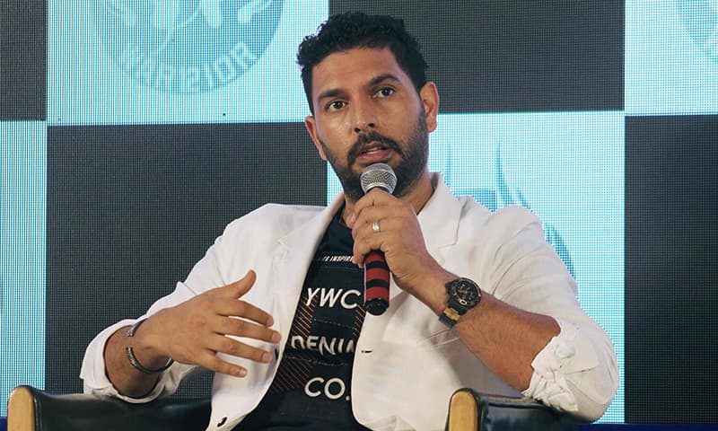 Indian cricketer Yuvraj Singh speaks during a news conference to announce his retirement from international cricket, in Mumbai on June 10. — AFP