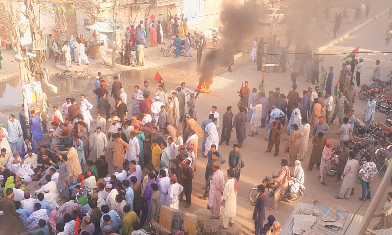 PPP workers protest against the arrest of party co-chairman Asif Ali Zardari in Larkana on Monday.—Dawn