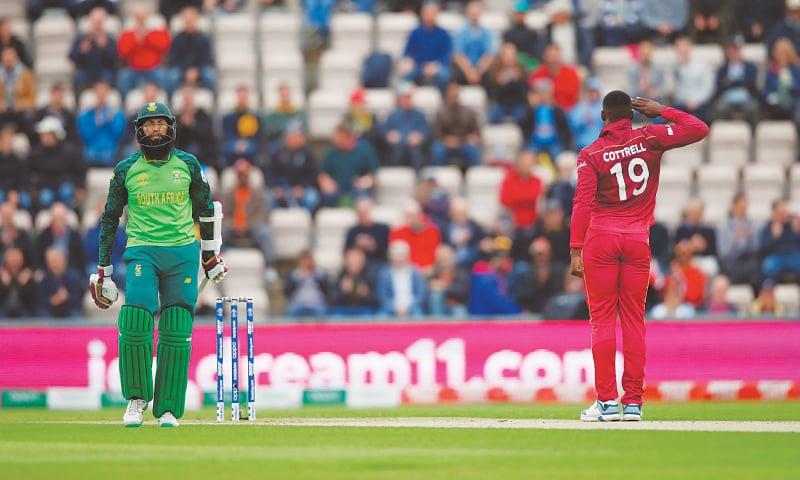 SOUTHAMPTON: South African opener Hashim Amla is dismayed after being dismissed by West Indies paceman Sheldon Cottrell during their match at the Rose Bowl on Monday.—Reuters