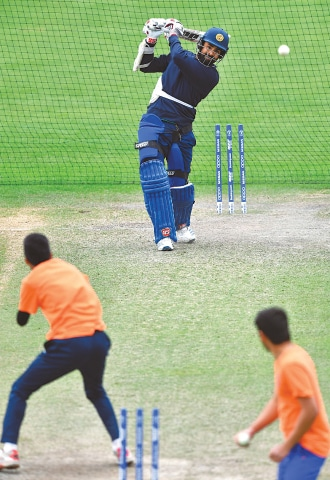 BRISTOL: Sri Lanka's Lahiru Thirimanne bats during a nets session at the County Ground on Monday.—AFP