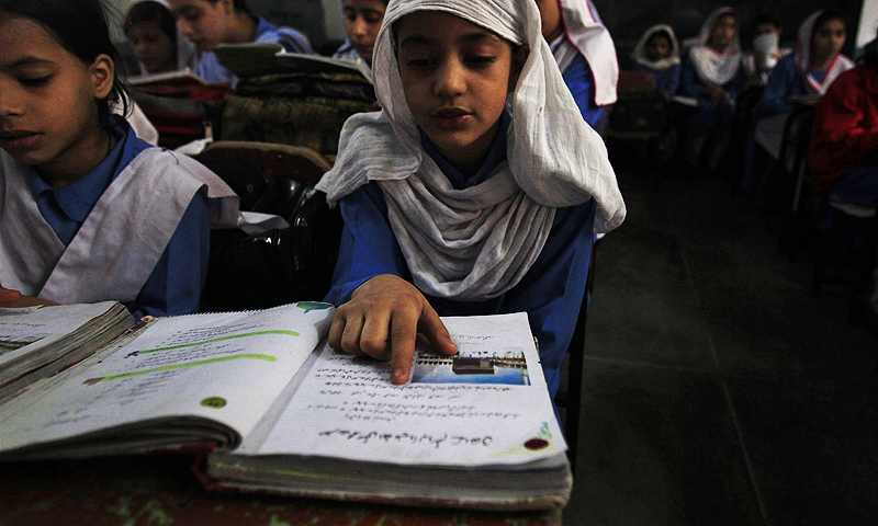 Literacy rate increased in all provinces but Sindh; education expenditure rose from 2.2pc of GDP in 2016-17 to 2.4pc.— Reuters/File