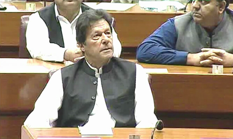 Prime Minister Imran Khan in attendance for the budget session in the National Assembly. — DawnNewsTV screengrab