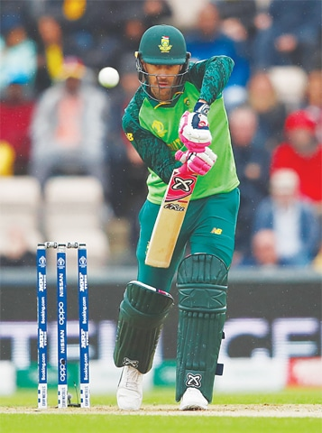 SOUTHAMPTON: South African captain Faf du Plessis bats during the match against West Indies at the Rose Bowl on Monday.—Reuters