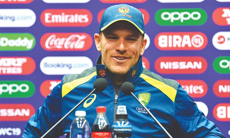 AUSTRALIAN skipper Aaron Finch smiles while speaking to reporters.—AFP