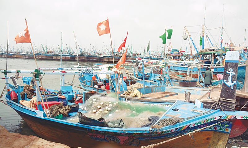 BOATS are anchored at Ibrahim Haideri on Tuesday due to the cyclone warning.—Online