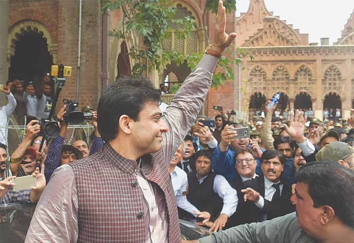 HAMZA Shahbaz waves to his supporters as he is arrested on Tuesday.—White Star