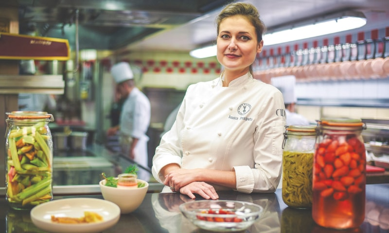 Paris: French pastry chef Jessica Prealpato of the Plaza Athenee hotel poses in her restaurant's kitchen for a portrait. — AFP