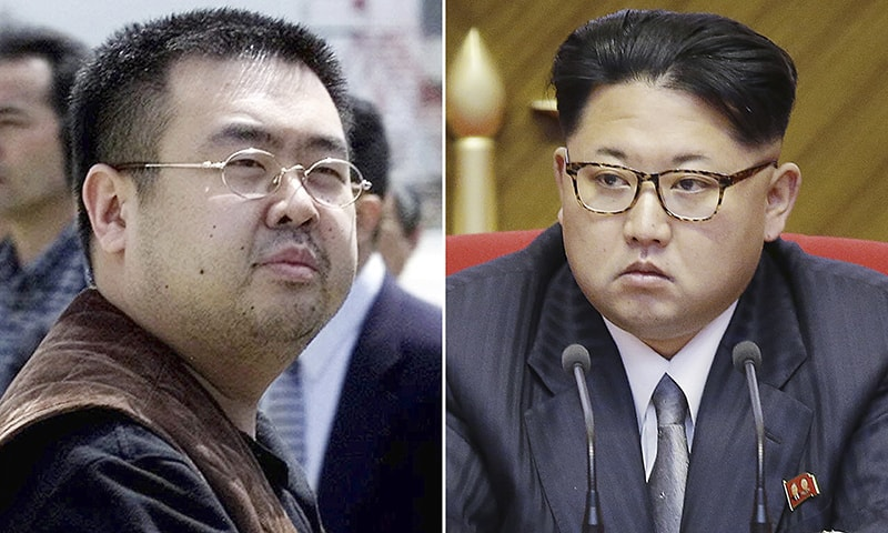 This combination of file photos shows Kim Jong Nam, left, exiled half-brother of North Korea's leader Kim Jong Un, in Narita, Japan, on May 4, 2001, and North Korean leader Kim Jong Un on May 9, 2016, in Pyongyang, North Korea. — AP