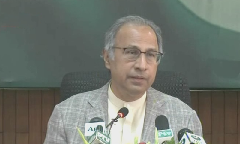 Adviser to the Prime Minister on Finance Dr Hafeez Shaikh addresses a press conference in Islamabad a day after the announcement of budget for FY 2019-20. — DawnNewsTV screengrab