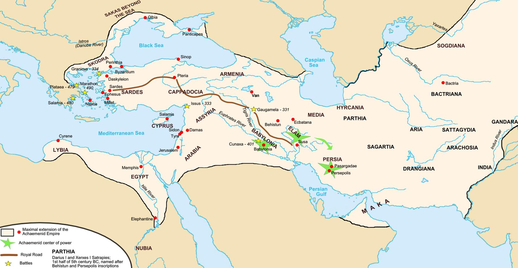 ہخامنشی شہنشاہیت کا نقشہ