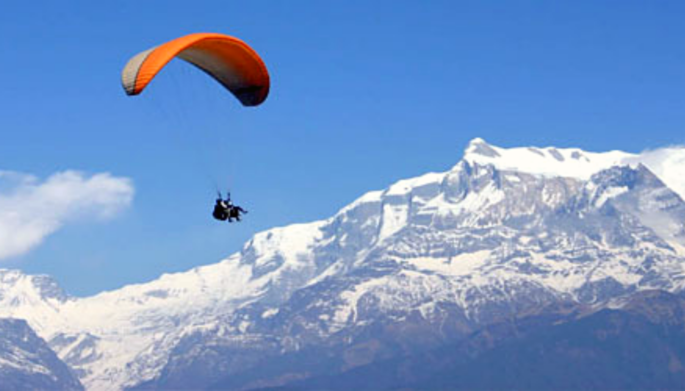 Paragliding in Pokhara, Nepal.