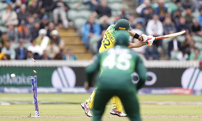 Australia's Glenn Maxwell is clean bowled by Shaheen Shah Afridi. ─ AP