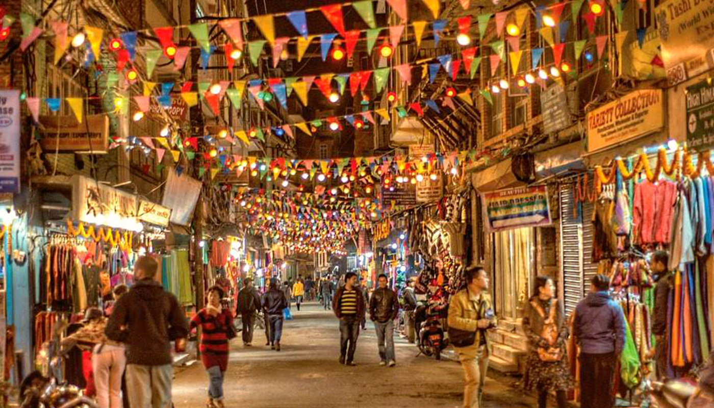 Thamel, a vehicle free commercial neighborhood in Kathmandu, Nepal.