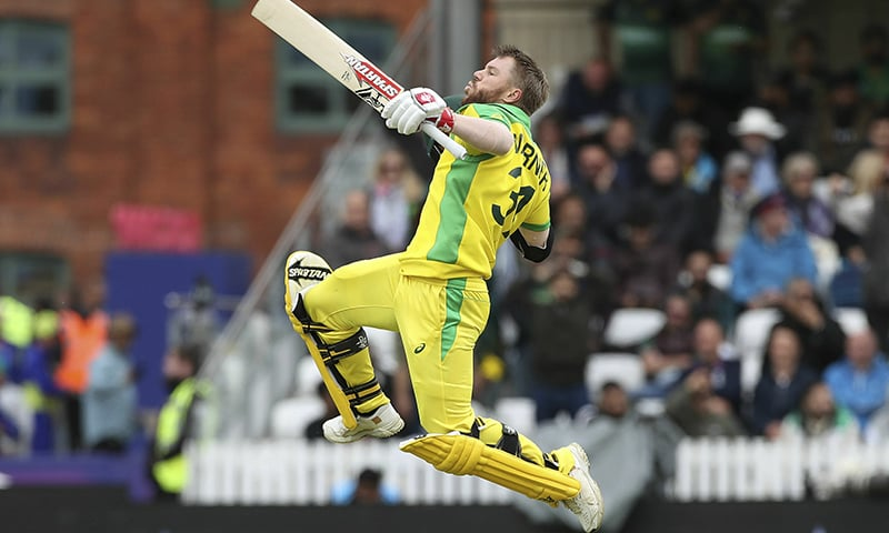 Australia's David Warner celebrates his century during the World Cup match against Pakistan. ─ AP