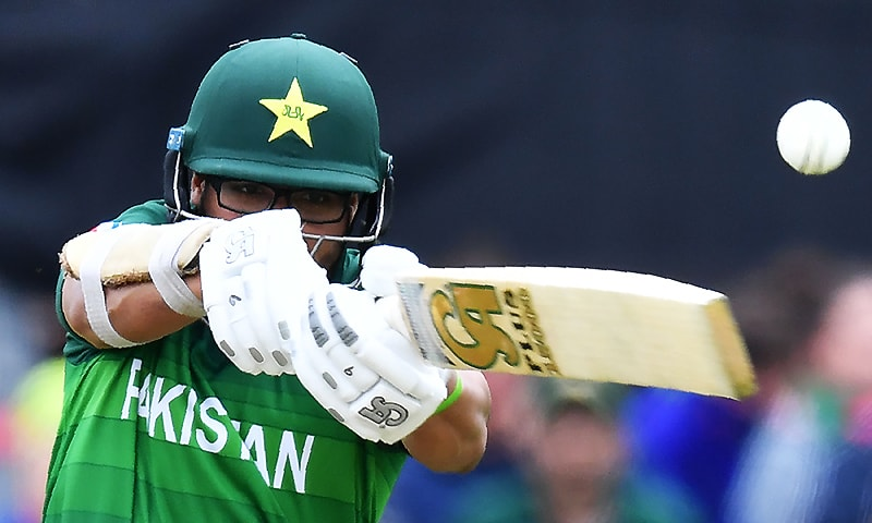 Imamul Haq watches the ball after playing a shot during the 2019 Cricket World Cup group stage match between Australia and Pakistan at The County Ground in Taunton. ─ AFP