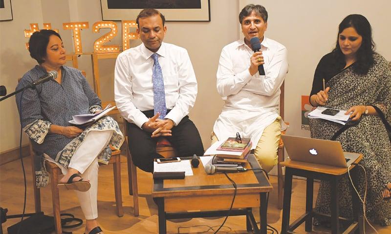 ALI Akbar Natiq speaks at the event on Tuesday.—Faysal Mujeeb/White Star