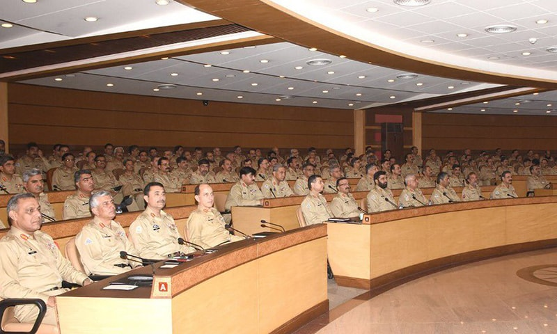 A formation commanders' meeting reviewed the country's internal and external security environment during its two-day proceedings. — Photo courtesy DG ISPR Twitter