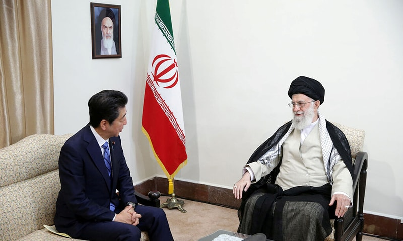 Iran's Supreme Leader Ayatollah Ali Khamenei meets with Japan's Prime Minister Shinzo Abe in Tehran, Iran June 13. — Reuters