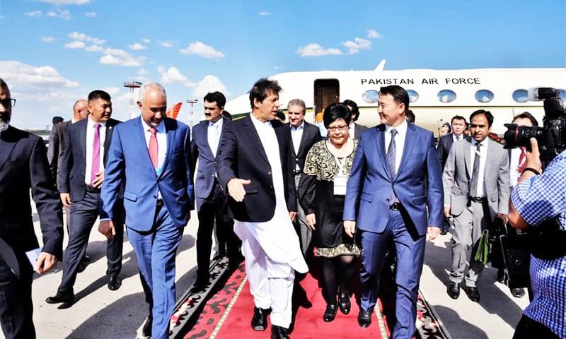 The PM was received by Kyrgyzstan Prime Minister Mukhammedkalyi Abylgaziev,  and Kyrgyz Minister for Health Kosmosbek Sarievich Cholponbaev. —  Photo courtesy of the government of Pakistan
