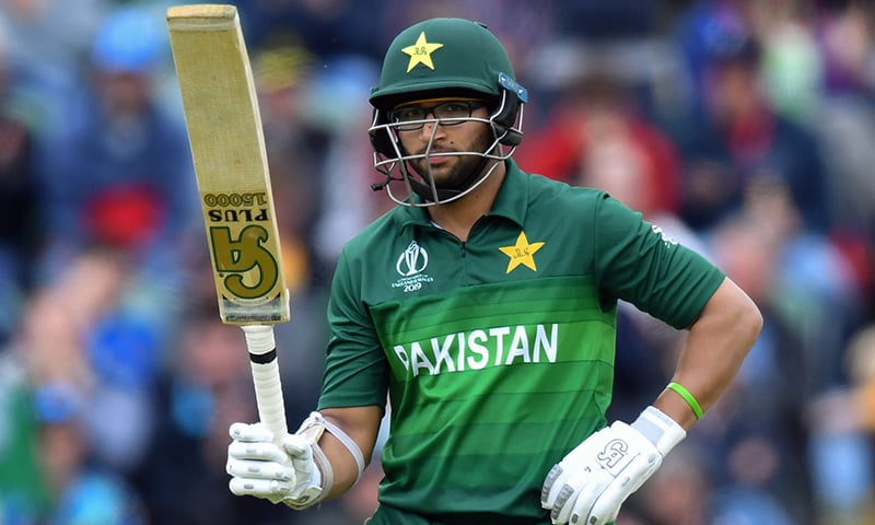 Imamul Haq celebrates after scoring a half-century (50 runs) during the 2019 Cricket World Cup group stage match between Australia and Pakistan at The County Ground in Taunton on June 12. — AFP