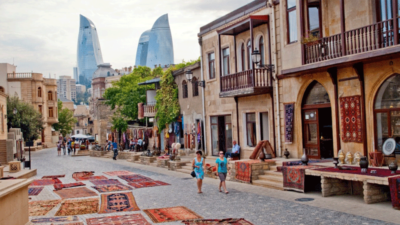 Carpet market in Baku, Azerbaijan.