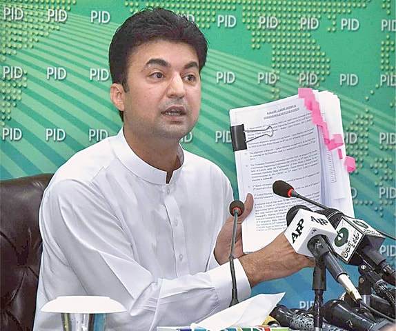 Murad Saeed addressing the press conference.—APP