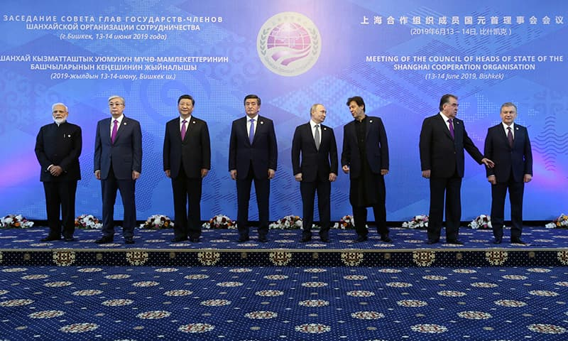 From L: Indian Prime Minister Narendra Modi, Kazakh President Kassym-Jomart Tokayev, Chinese President Xi Jinping, Kyrgyz President Sooronbai Jeenbekov, Russian President Vladimir Putin, Prime Minister Imran Khan, Emomali Rahmon and Uzbek President Shavkat Mirziyoyev pose for a photo prior to a meeting of the Shanghai Cooperation Organisation (SCO) Council of Heads of State in Bishkek on June 14. — AFP