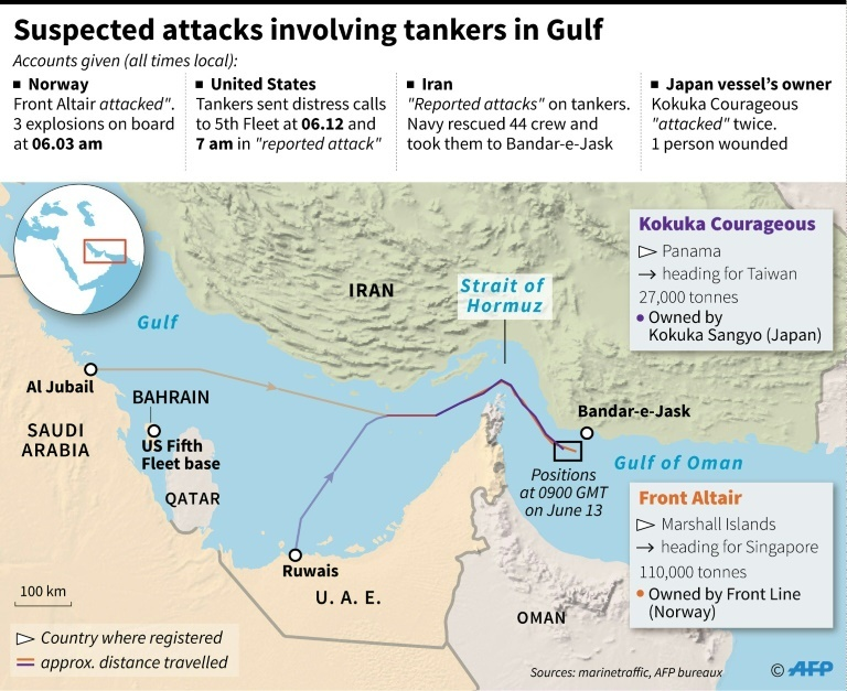 Suspected attacks involving tankers in Gulf. ─ AFP