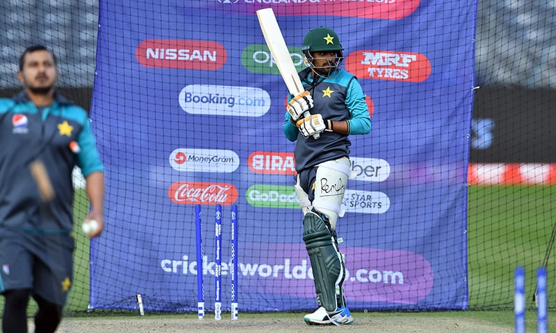 Babar Azam bats in the nets during a practice session in Bristol. ─ AFP