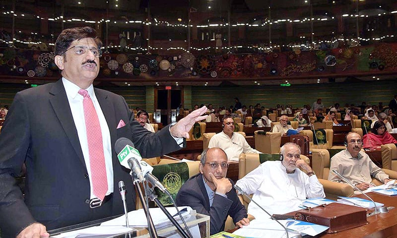 Sindh Chief Minister Syed Murad Ali Shah presents the budget for 2019-20 in the Sindh Assembly. — APP