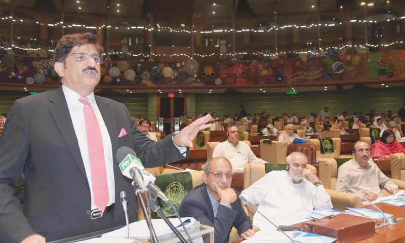 KARACHI: Sindh Chief Minister Syed Murad Ali Shah presents the budget for 2019-20.—PPI