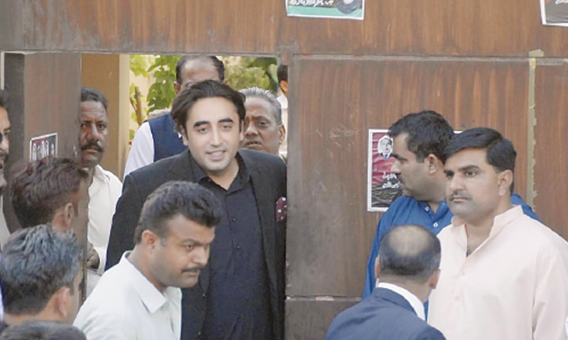 ISLAMABAD: Chairman of the Pakistan Peoples Party Bilawal Bhutto-Zardari leaving on Friday the residence of Faryal Talpur, which has been declared a sub-jail.—Online