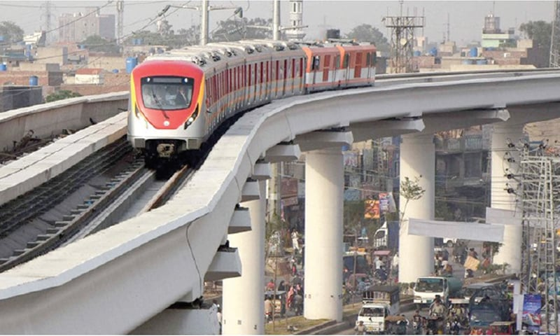 LAHORE: Trial run of Orange Line Metro Train project, which is set to be completed in the next ADP.—Dawn