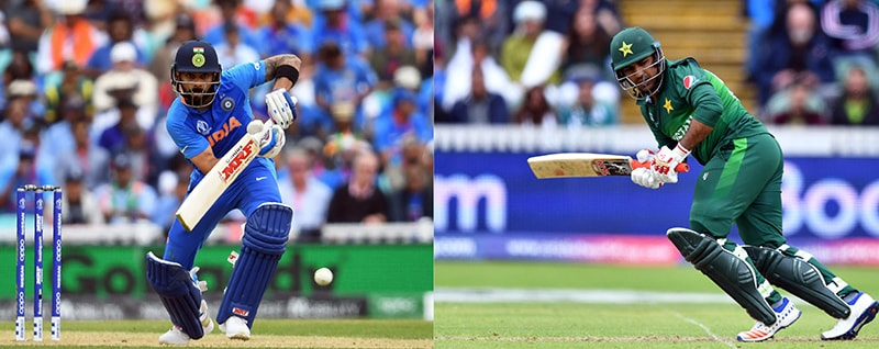 This combination image shows India's captain Virat Kohli (L) playing a shot during the 2019 Cricket World Cup group stage match between India and Australia at The Oval in London on June 9, and Pakistan's captain Sarfaraz Ahmed (R) playing a shot during the World Cup match between Australia and Pakistan at The County Ground in Taunton, southwest England, on June 12. — AFP