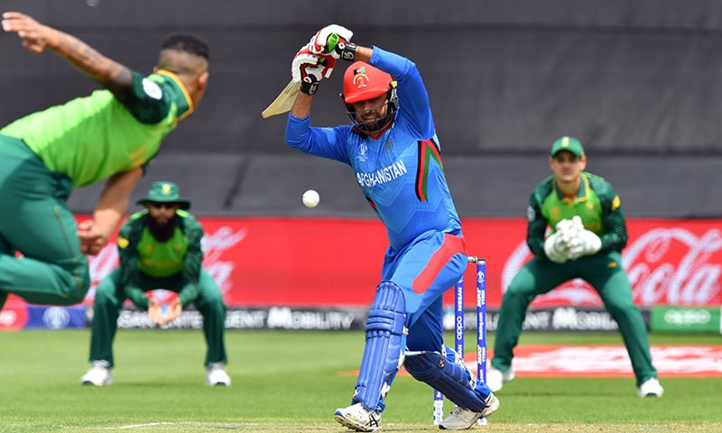 Afghanistan's Noor Ali Zadran (C) leaves a delivery from South Africa's Beuran Hendricks during the 2019 Cricket World Cup group stage match between South Africa and Afghanistan at Sophia Gardens stadium in Cardiff, south Wales, on June 15. — AFP