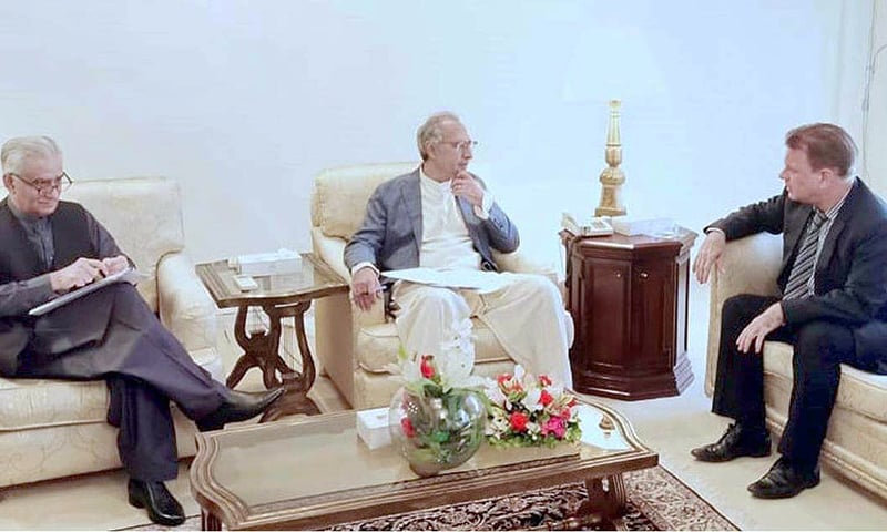Director General Asian Development Bank (ADB) Werner Leipach meets with Adviser to the Prime Minister on Finance, Revenue And Economic Affairs, Dr Abdul Hafeez Shaikh. — APP