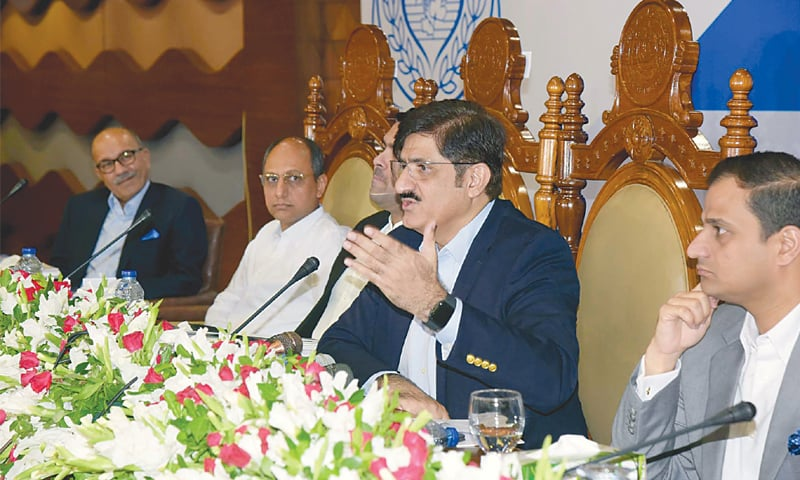 SINDH Chief Minister Murad Ali Shah addresses the post-budget press conference on Saturday.—PPI