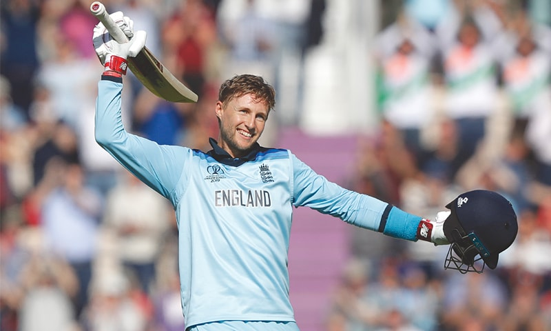 Joe Root celebrates after bringing up his second century of the World Cup against the West Indies at the Rose Bowl. — AP