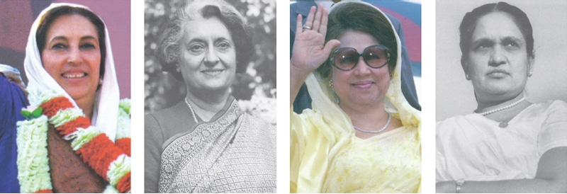 Left to right: Benazir Bhutto of Pakistan, Indira Gandhi of India, Khaleda Zia of Bangladesh and Sirimavo Bandaranaike of Sri Lanka | Photos from the book