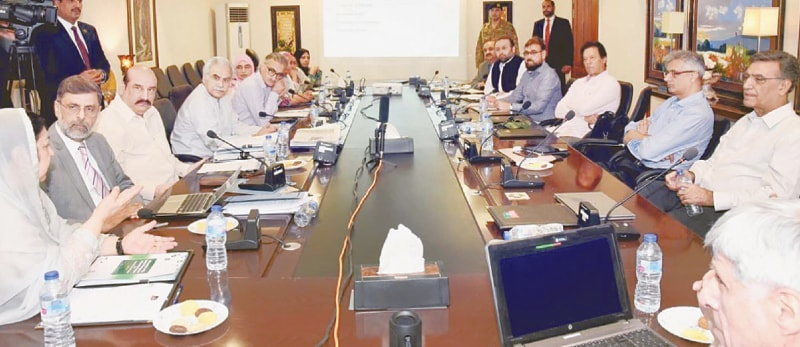 Prime Minister Imran Khan chairs a meeting of the Task Force on Health on Saturday.—PPI