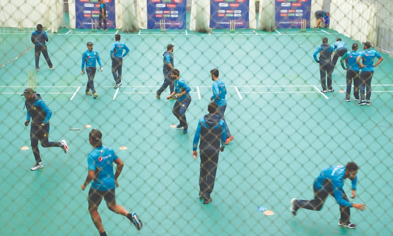 MANCHESTER: Pakistan players attend an indoor training session ahead of their World Cup match against India at Old Trafford on Saturday. — AP
