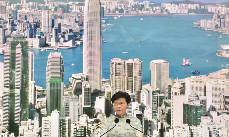 Hong Kong Chief Executive Carrie Lam speaks during a press conference at the government headquarters on Saturday. — AFP