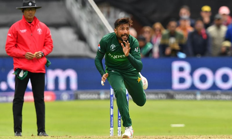 Amir starts the match with a maiden over. — ICC