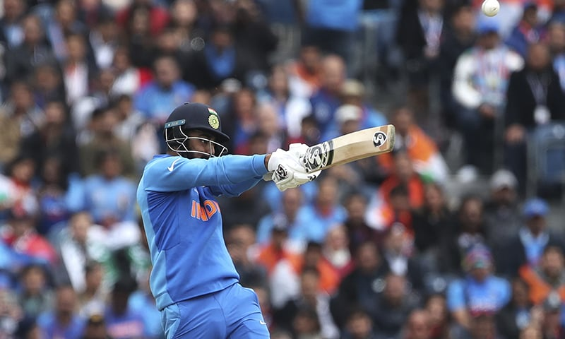India's KL Rahul plays a shot during the Cricket World Cup match between India and Pakistan. — AP