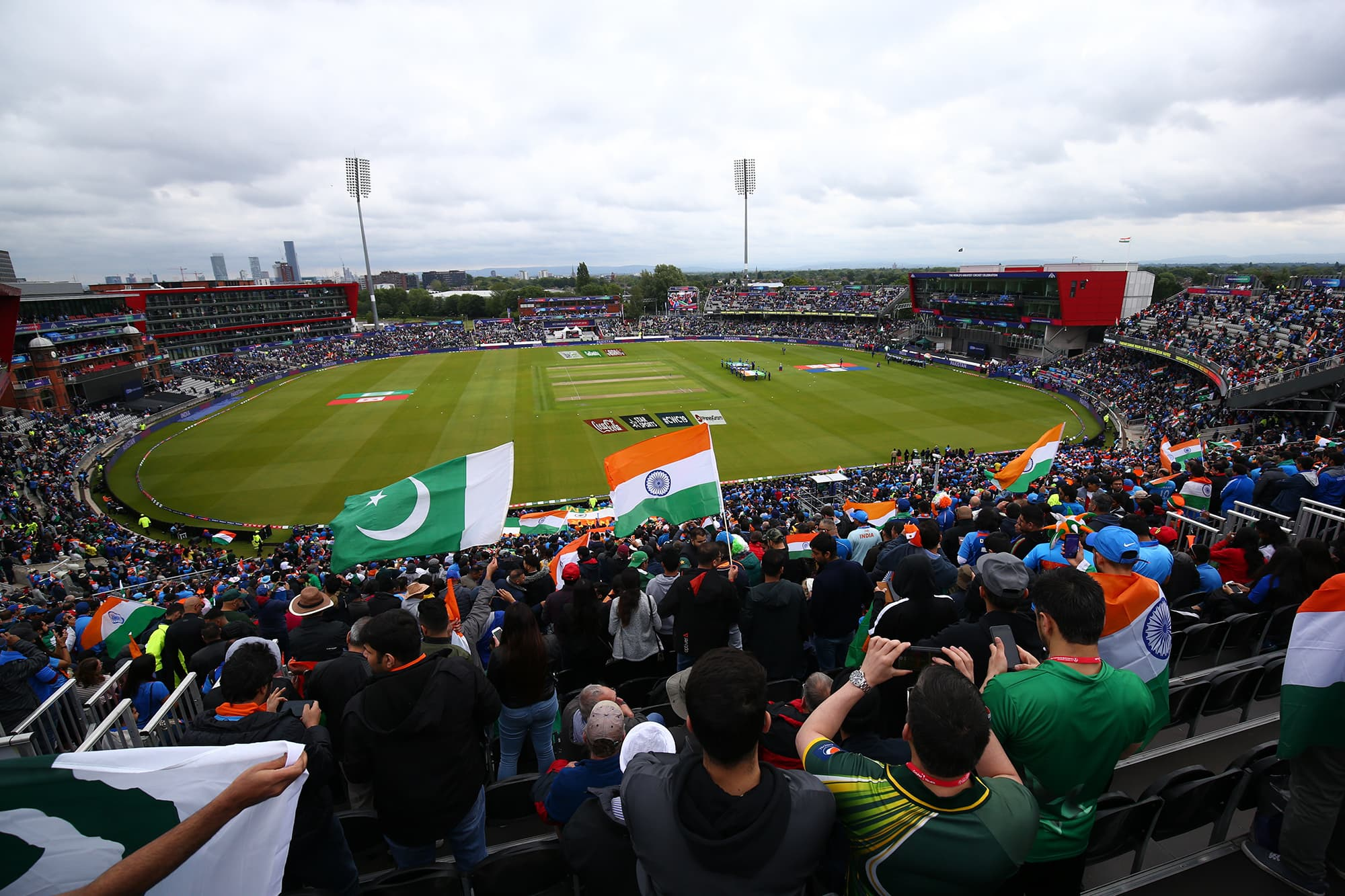 Fans attend the Cricket World Cup match between India and Pakistan at Old Trafford in Manchester, England, Sunday, June 16, 2019. (AP Photo/Dave Thompson) — Copyright 2019 The Associated Press. All rights reserved