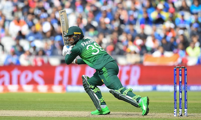 Fakhar Zaman plays a shot during the 2019 Cricket World Cup group stage match between India and Pakistan. — AFP